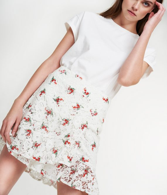 Raspberry lace skirt   Alix the label