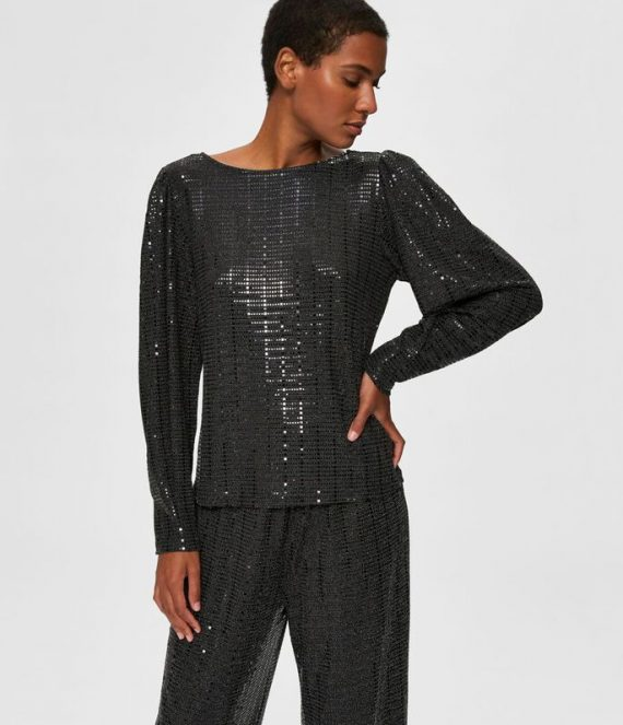 Glanzende ronde hals blouse | Selected Femme