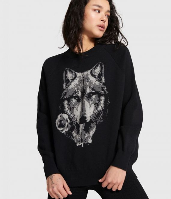 Pullover with wolves jacquard | Alix the label