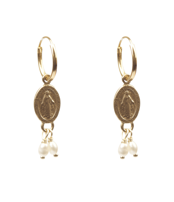 Maria coin with freshwater pearls pair of earrings | A la Collections