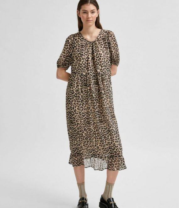 SLFTilda luipaardprint jurk | Selected Femme