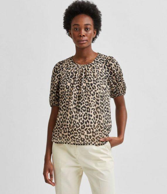 SLFTilda luipaardprint top | Selected Femme