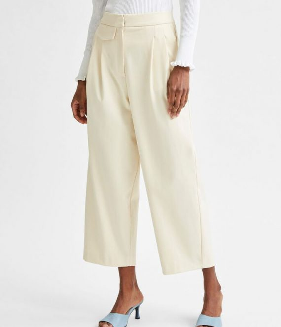 Cropped pleated recycled polyester trousers | Selected Femme