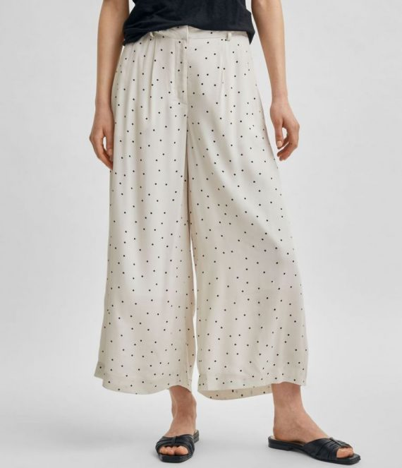 Cropped wide soft touch pants | Selected Femme