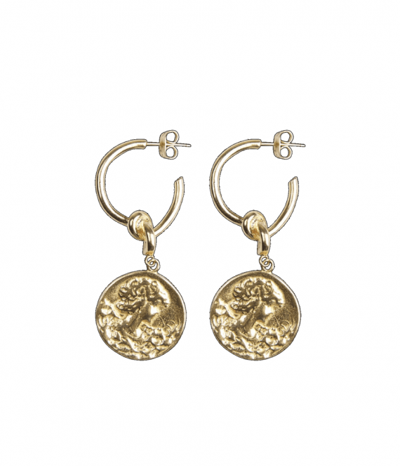 Big coin with knot pair of earrings | A la Collection
