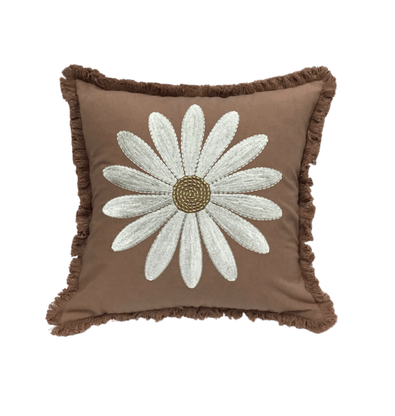 Fringe cushion embroidered daisy cotton linen | A la Collection