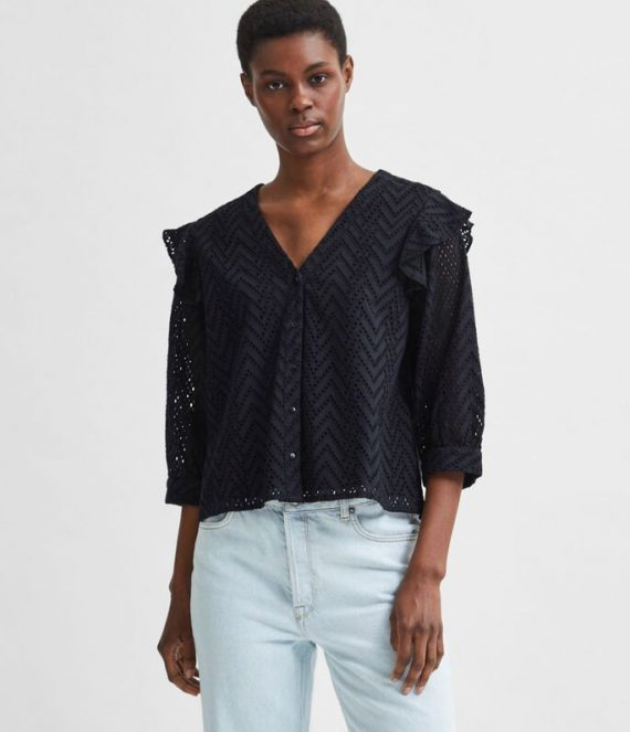 Broderie anglaise ruches overhemd | Selected Femme