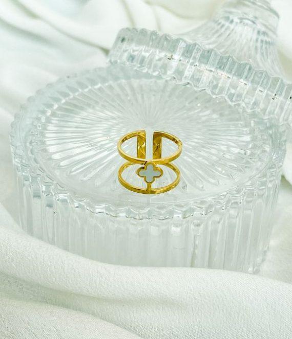Ring pearl clover | ZAG Bijoux