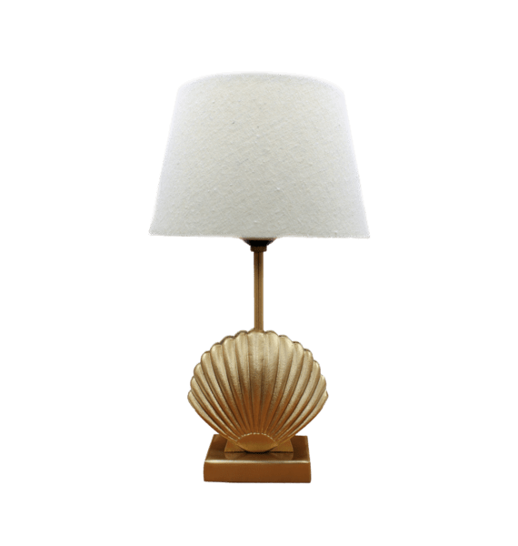 Shell lamp + linen shade | A la Collection