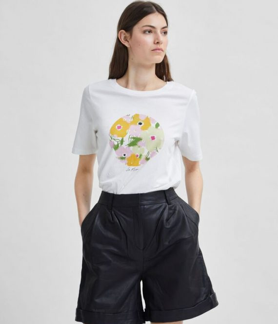 Bloemenprint t-shirt | Selected Femme