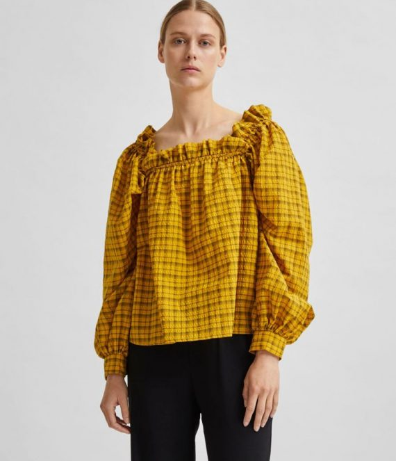 Geruit vierkante hals ruches blouse | Selected Femme