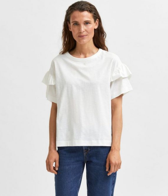 Ruches t-shirt wit | Selected Femme