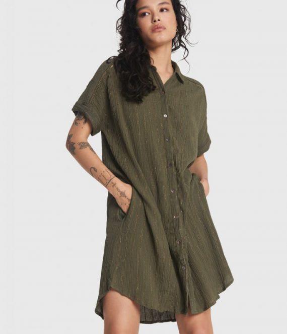Lurex stripe crinkle tunic dress | Alix the label