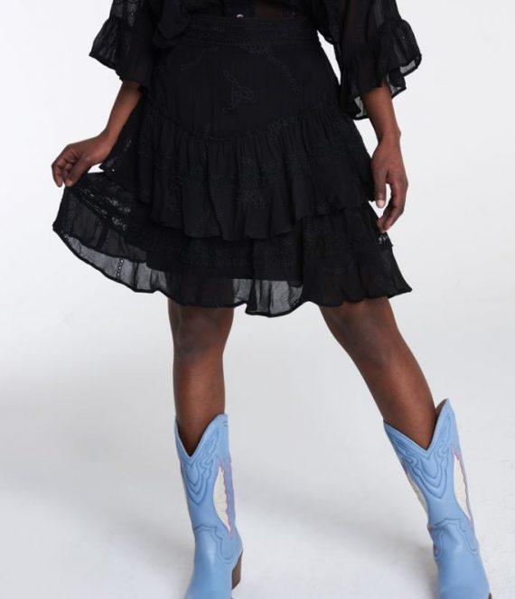 Embroidery chiffon skirt | Alix the label