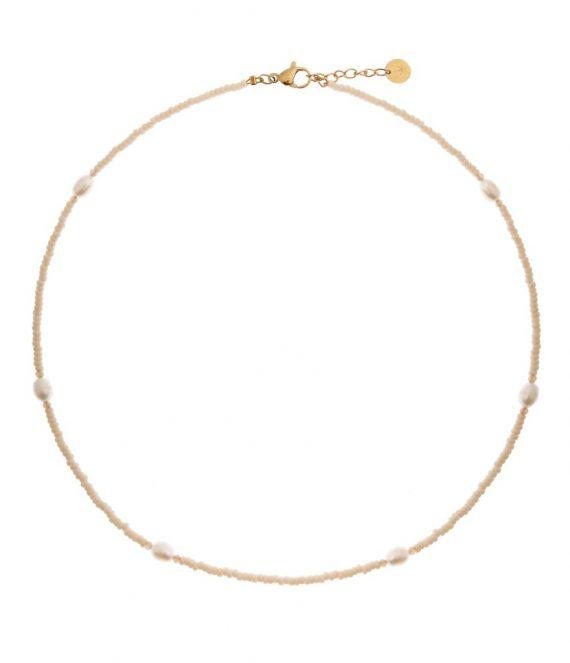 Sand pearl choker gold | Label Kiki