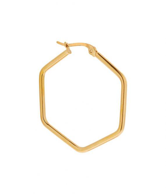 Single large hexagon hoop gold | Label Kiki