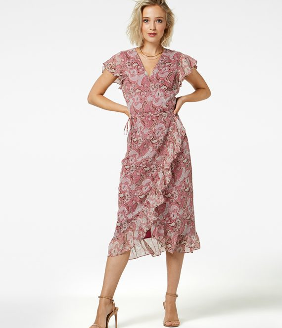 Rosy midi jurk burgundy | Freebird