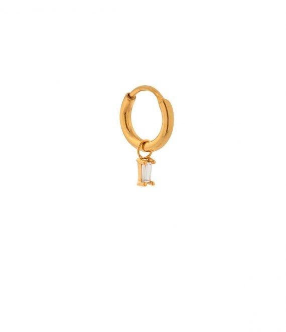 Single CZ white hoop gold | Label Kiki