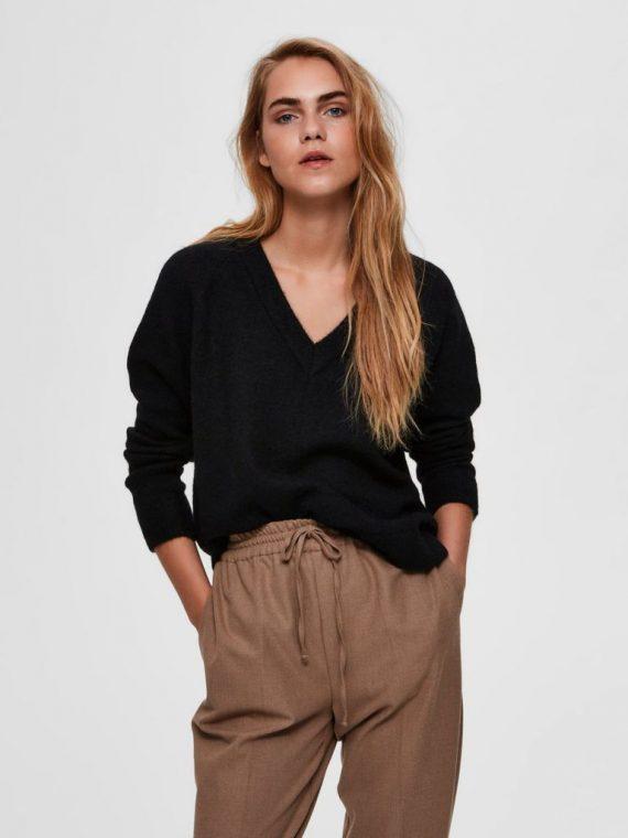 V-hals wolmix sweater zwart | Selected Femme