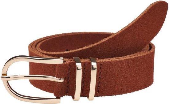 Belt plain brown gold 30495 | Elvy Fashion